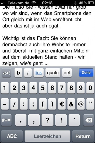 iPhone Editor für Blog Artikel
